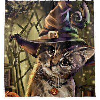 Cortina De Baño Gato de la bruja de Halloween