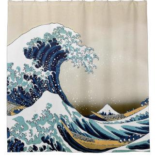 Cortina De Baño Gran onda restaurada de Kanagawa por Hokusai