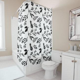 Cortina De Baño Hojas blancos y negros abstractas modernas de