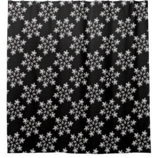 Cortina De Baño Navidad helado blanco y negro de los copos de