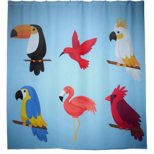 Cortina De Baño Pájaros tropicales