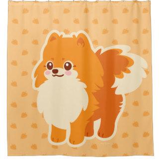 Cortina De Baño Perro del dibujo animado de Kawaii Pomeranian