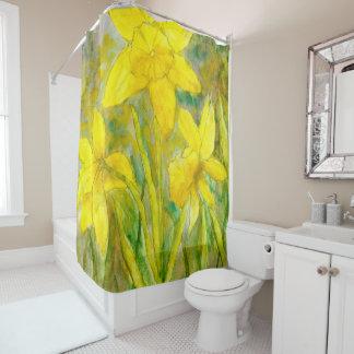 Cortina De Baño Pintura de la acuarela, arte amarillo de las