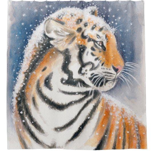 Cortina De Baño Tigre en la nieve
