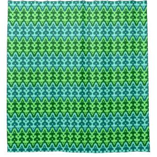Cortina De Baño Verde del damasco, de la turquesa y de jade de
