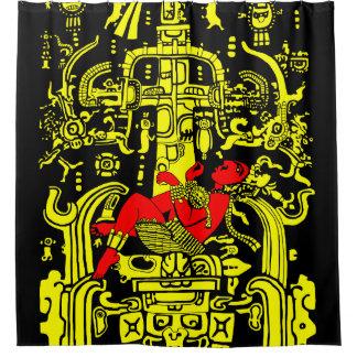 Cortina De Baño Versión amarilla y roja del astronauta antiguo -