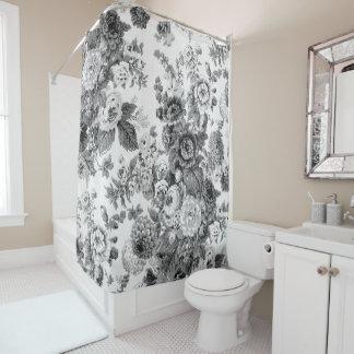 Cortina De Baño Vintage gris negro y blanco Toile floral No.3 del