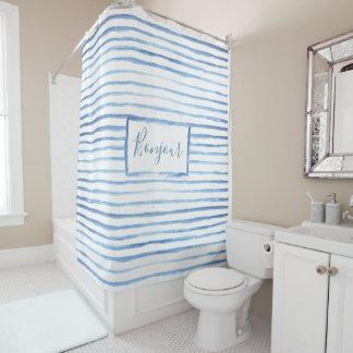 Cortina de ducha adaptable pintada de las rayas