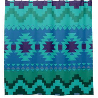 Cortina de ducha azteca azul del modelo