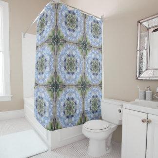 Cortina de ducha azul de la estrella del iris