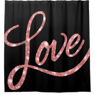 Cortina De Ducha Baño chispa negra y rosada el | del | del amor del