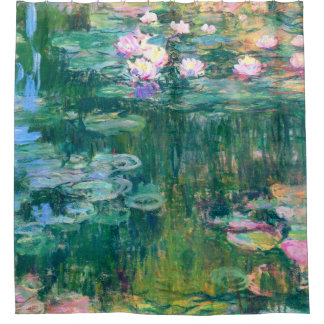 Cortina De Ducha Bella arte de Claude Monet de los lirios de agua