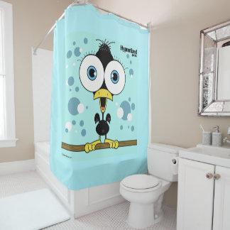 Cortina de ducha BG del pájaro (negro, azul claro)