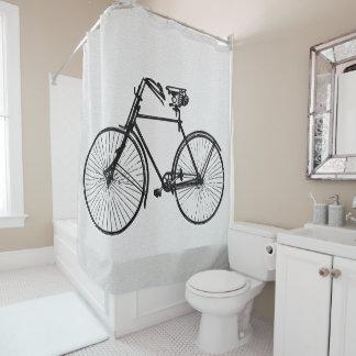 cortina de ducha blanca de la bicicleta negra de