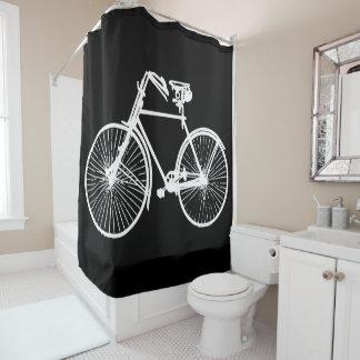 cortina de ducha blanca del negro de la bicicleta