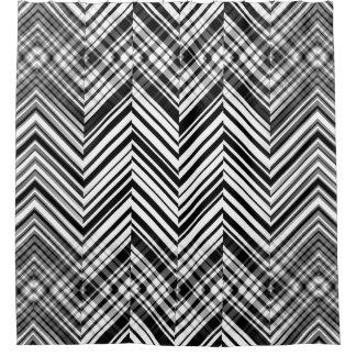 Cortina de ducha blanco y negro del zigzag