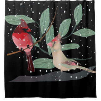 Cortina de ducha cardinal roja del navidad de la