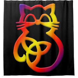 Cortina de ducha céltica del gato del nudo de la