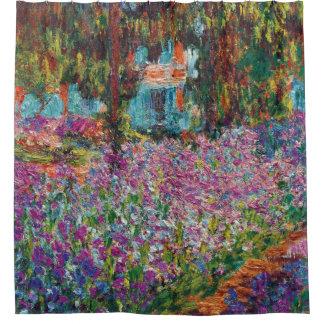 Cortina De Ducha Claude Monet - iris en bella arte del jardín de