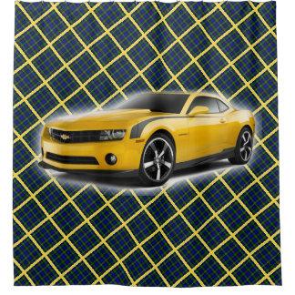 Cortina De Ducha Coche amarillo en la tela escocesa azul, verde y