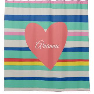 Cortina De Ducha Corazón femenino del arco iris lindo