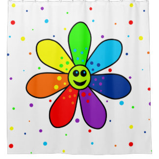 Cortina de ducha de la flor del arco iris