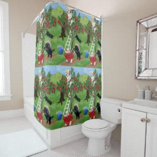 Cortina de ducha de Labradors del manzano