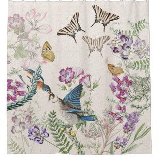 Cortina de ducha de las flores de mariposa de los