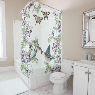 Cortina de ducha de las flores de mariposa del