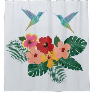 Cortina de ducha de los colibríes y de las flores