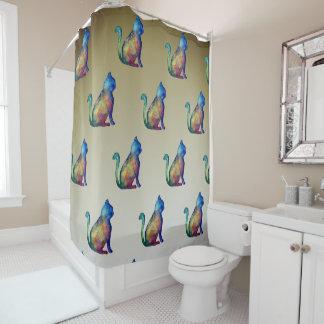 Cortina de ducha del arte del gato