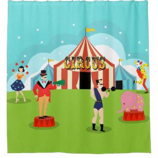 Cortina de ducha del circo del vintage