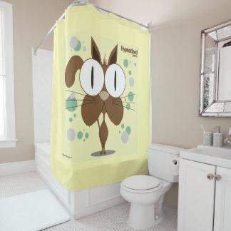 Cortina de ducha del gato (Brown, BG amarilla)
