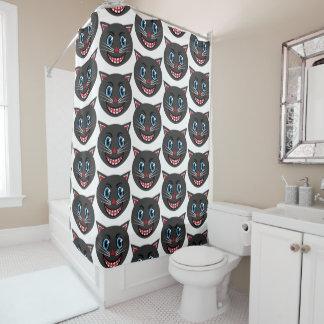 cortina de ducha del gato negro del vintage de los