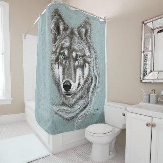 Cortina de ducha del lobo gris