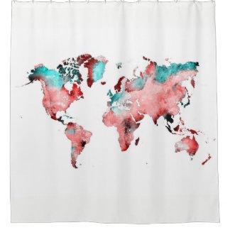 cortina de ducha del mapa del mundo