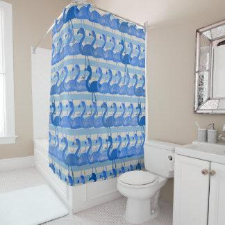 Cortina de ducha del modelo del flamenco (azul)