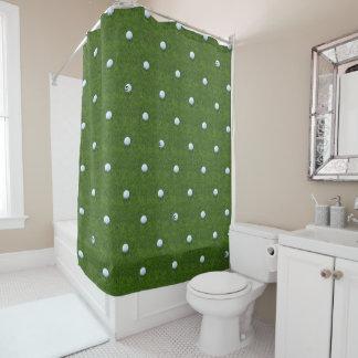Cortina de ducha del verde de hierba del monograma
