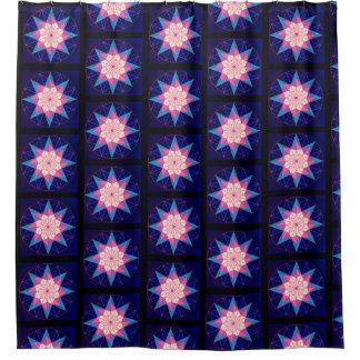 Cortina De Ducha Diseño geométrico azul rosado negro de la estrella