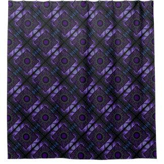 Cortina De Ducha Diseño geométrico y del fractal púrpura