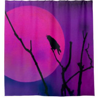 Cortina De Ducha El cuervo y la luna rosada