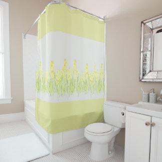 Cortina de ducha floral amarilla