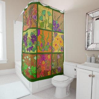 cortina de ducha floral del remiendo