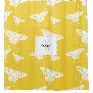 Cortina De Ducha Fondo amarillo brillante de las mariposas gráficas