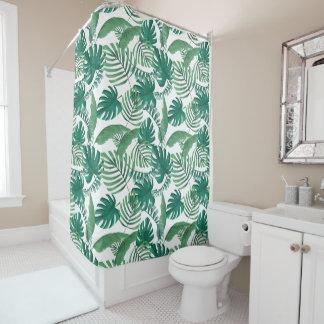 Cortina de ducha frondosa tropical de la impresión