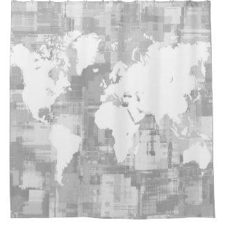 Cortina De Ducha Grayscale del mapa del mundo del diseño 71