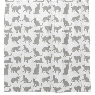 Cortina de ducha gris/blanca linda de los gatos/de