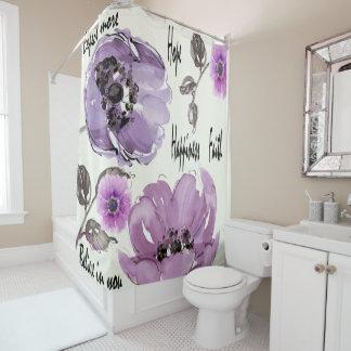 Cortina De Ducha Impresión púrpura del rosa del vintage