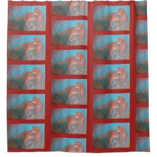 cortina de ducha larga anaranjada del gato del
