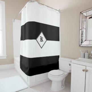 Cortina De Ducha Lineas horizontales negras y blancas intrépidas